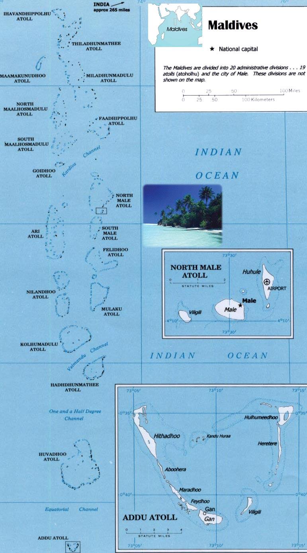Maldivas Mapa Atois Male Ari Nilande Mulaku