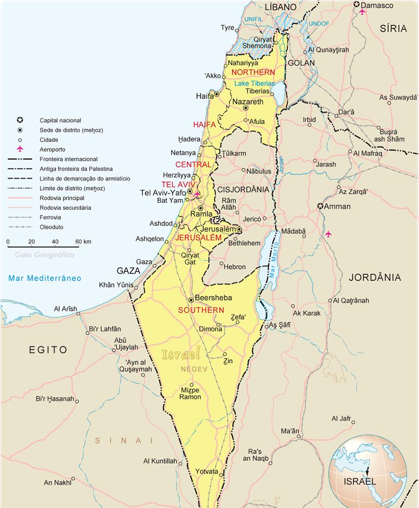 Israel Mapa Jerusalem