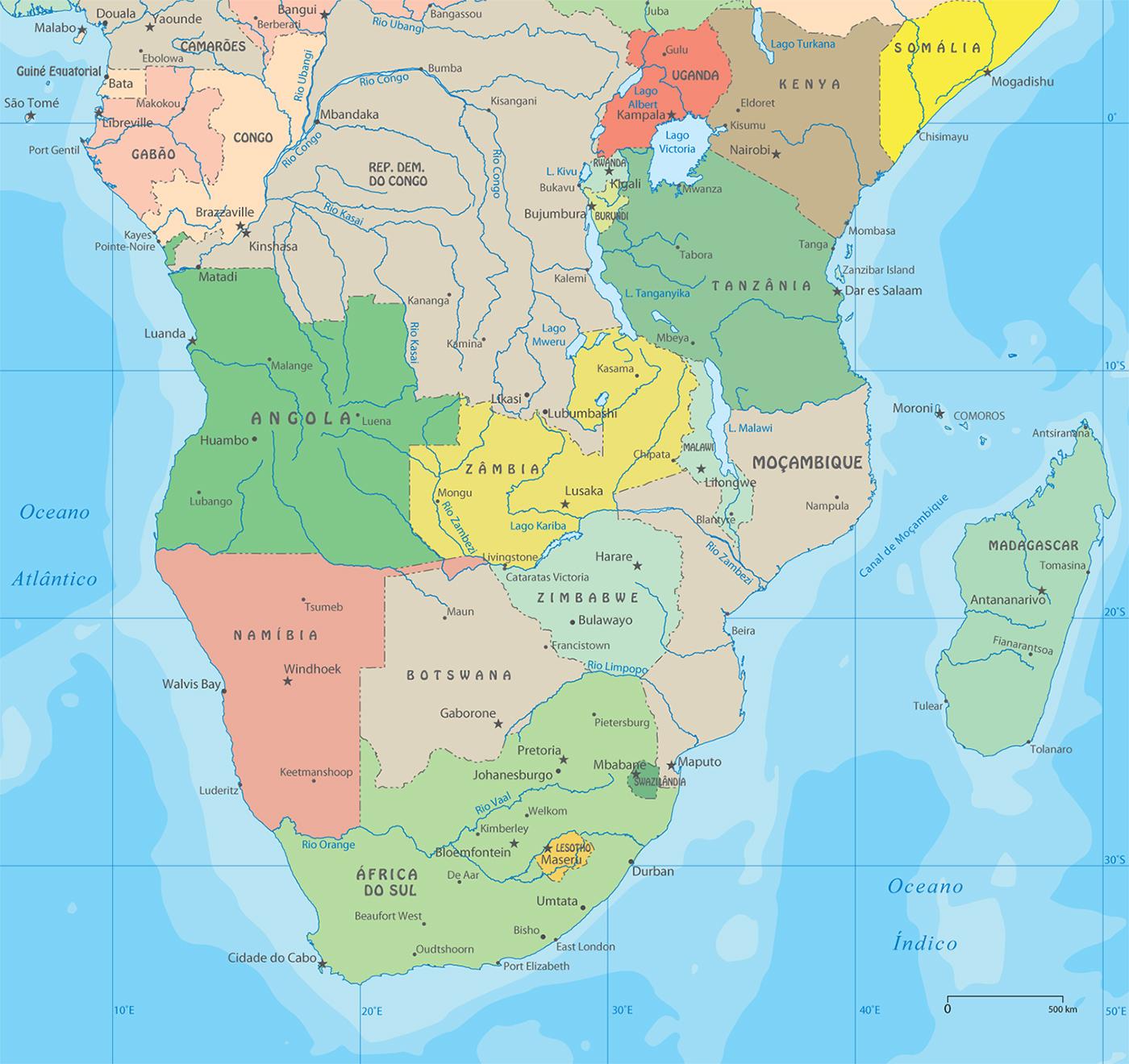 Mapa Poltico do Sul da frica