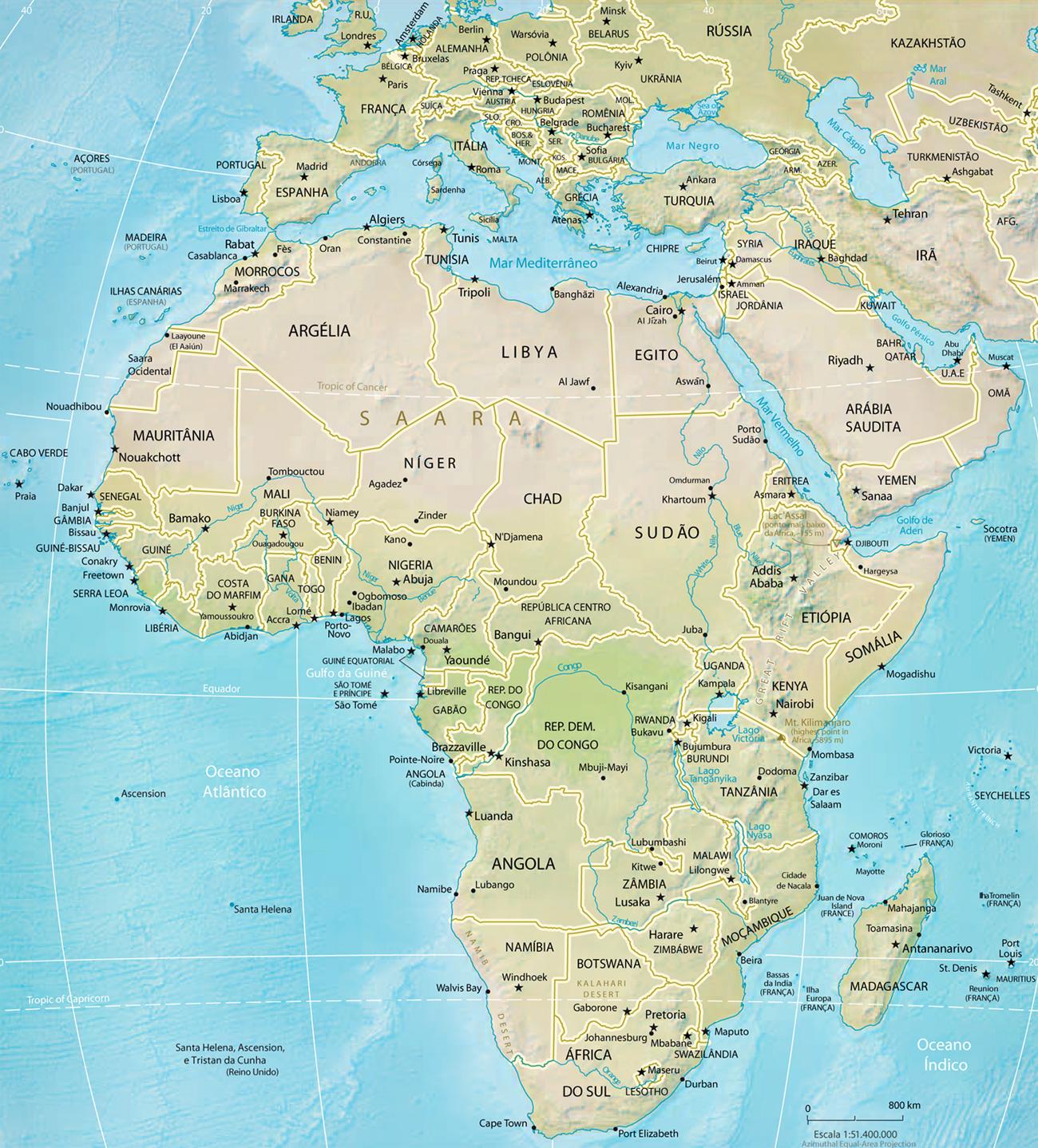 Mapa Da Africa Fisico E Paises Turismo