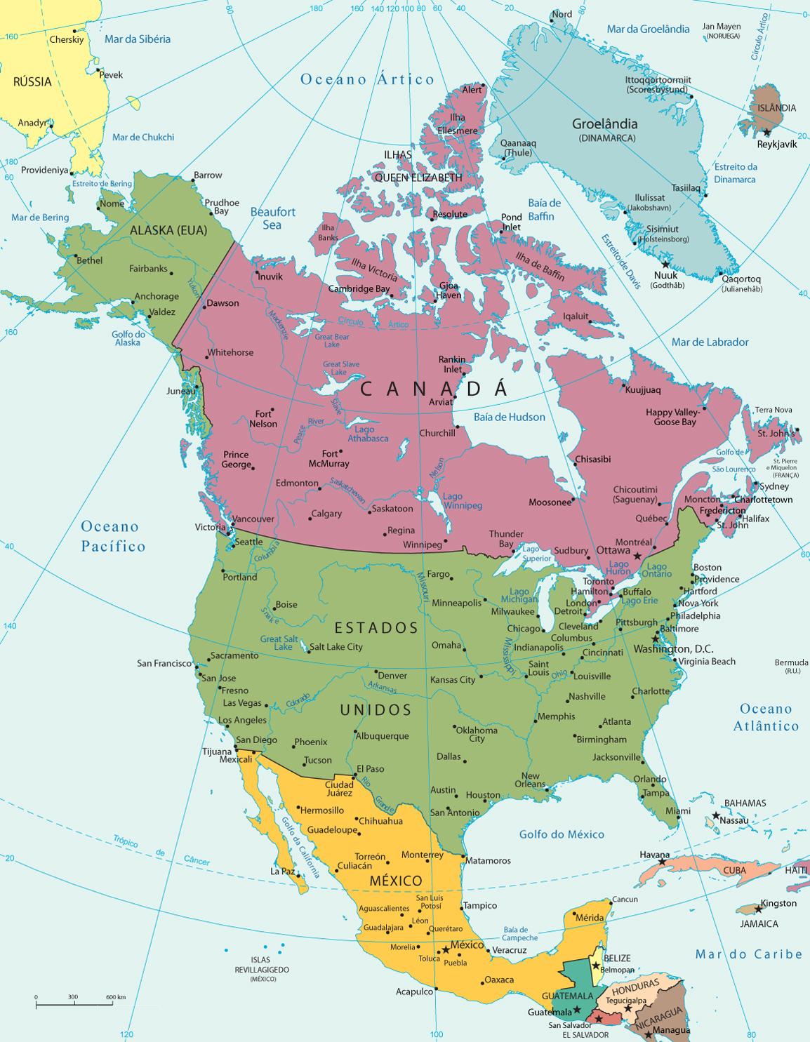 mapa norte Mapa da América do Norte mapa norte