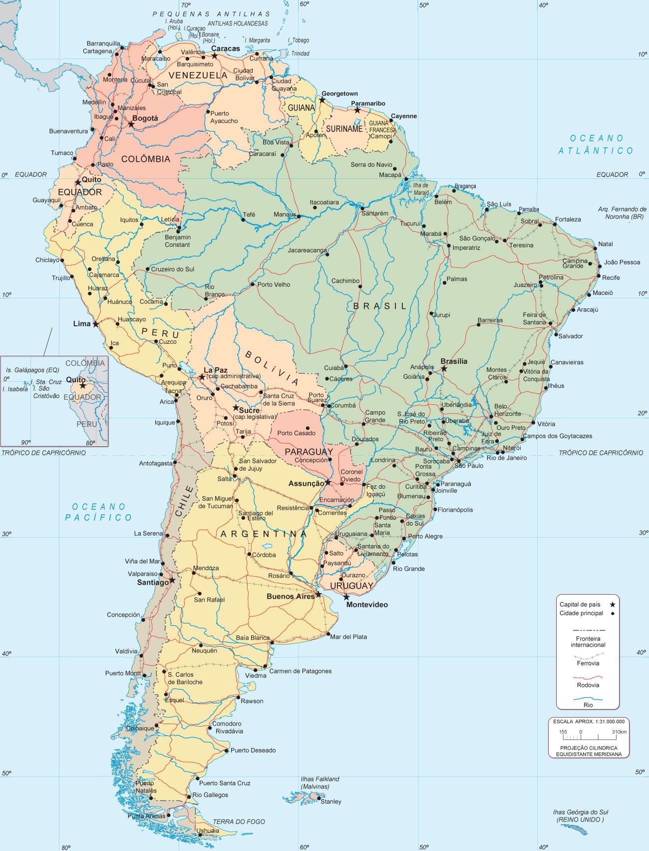 mapa america do sul e central Mapa da América do Sul mapa america do sul e central