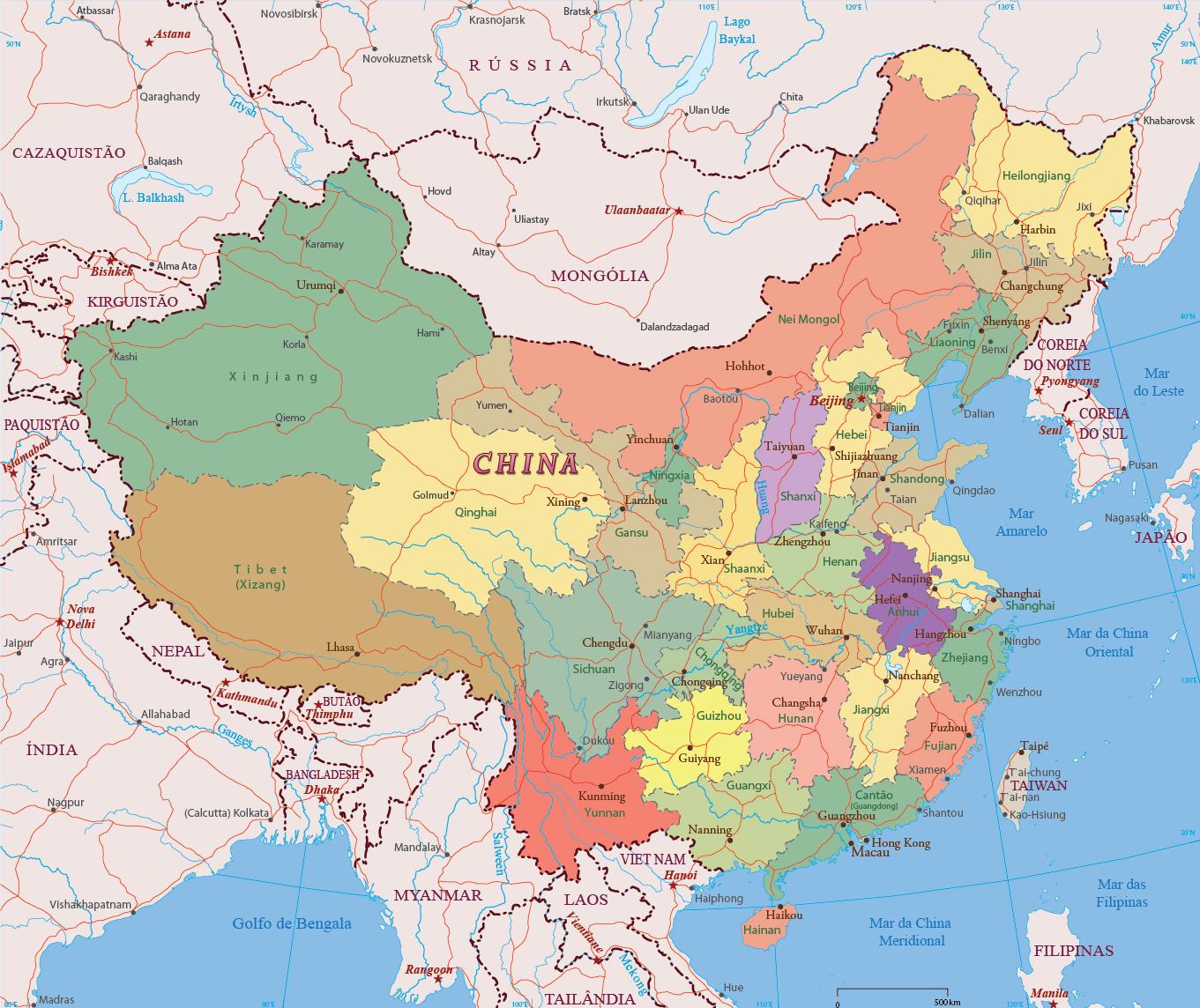 Mapa Da China Divisoes Politicas